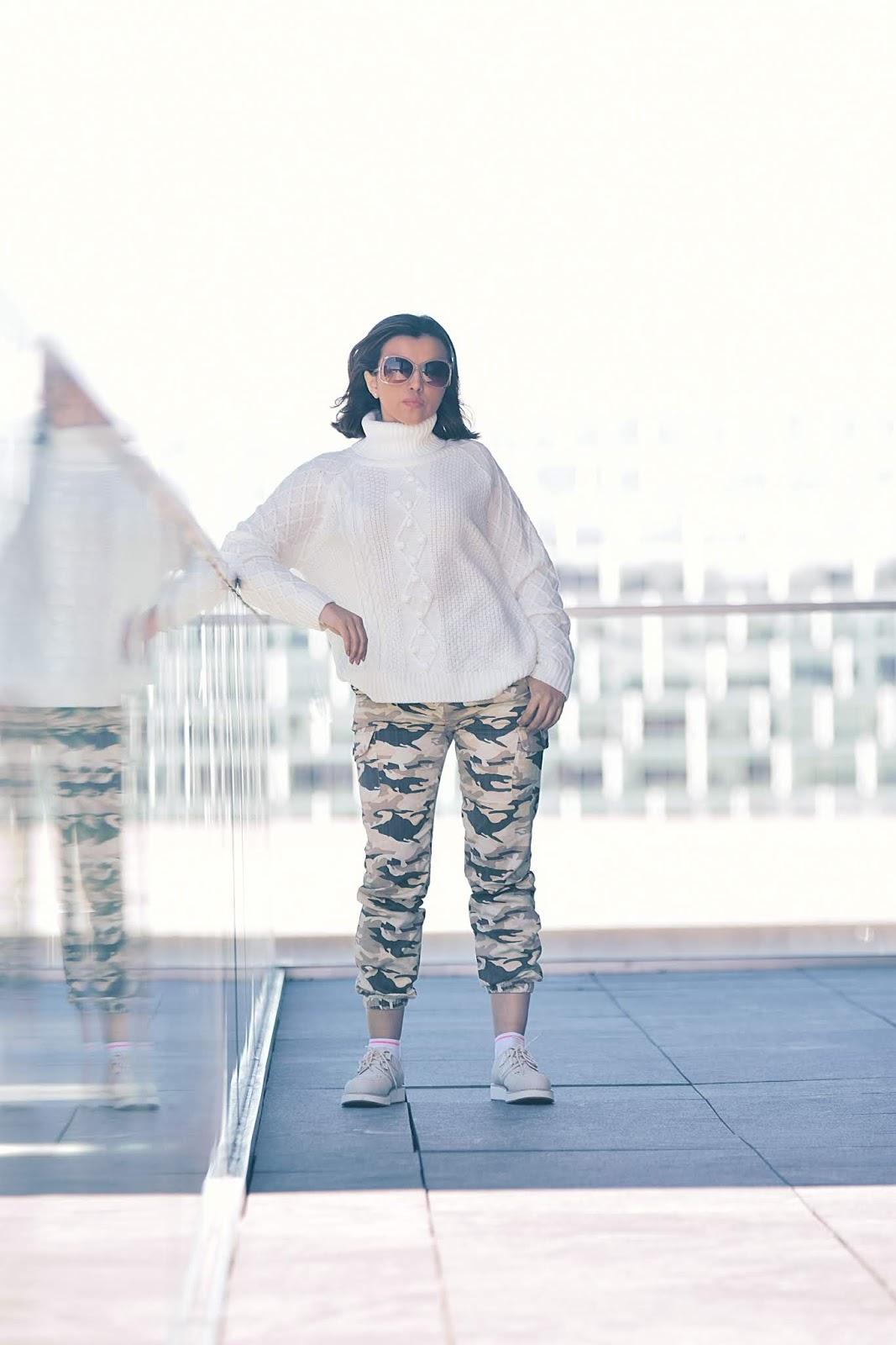 Cómo Combinar Pantalones Camo by Mari Estilo-dcblogger-camopants-whitesweater-sheingals-luxegal-