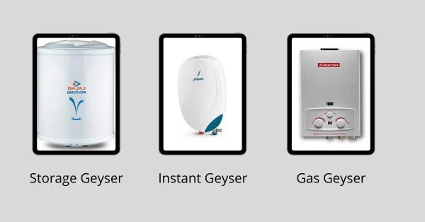 Type of Geysers/Water Heaters