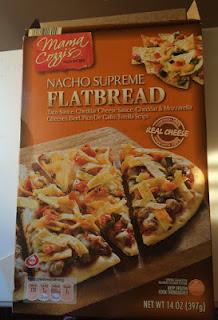 Box packaging of Mama Cozzi's Nacho Supreme Flatbread, from Aldi