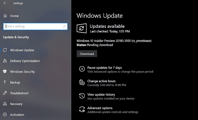 Windows 10 Build 20185 21H1 Features and fixes
