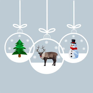 Clipart image of three hanging Christmas ornaments