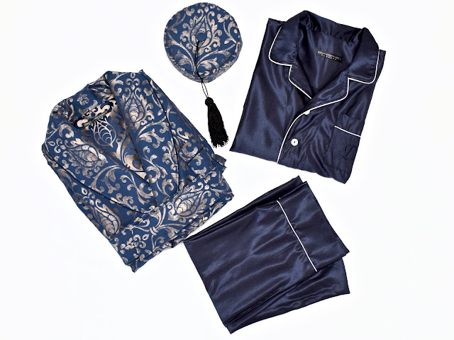 mens vintage dressing gown robe smoking cap pajamas set paisley silk