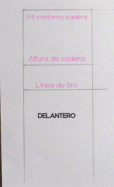 Líneas básicas del patrón de pantalón, donde se muestra el ancho de cadera, altura de cadera y altura de tiro. Pertenece al delantero