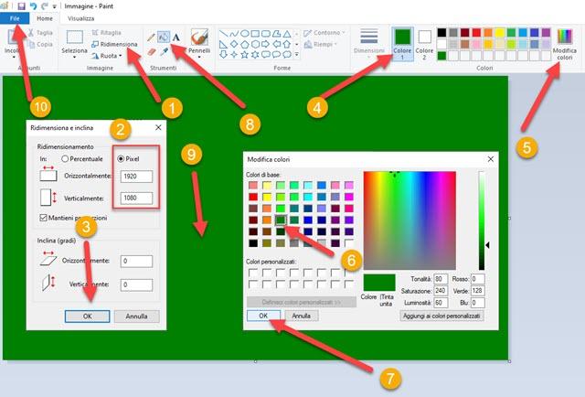 creare immagine di sfondo verde con paint