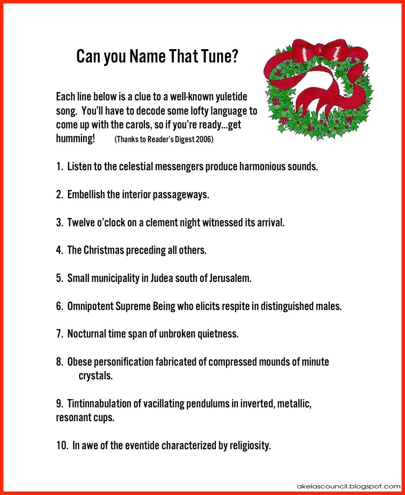 Good Cub Scout Christmas Party Ideas Part - 14: Guess The Christmas Songs Carols Puzzle For Christmas Parties ~ Cub Scout  Pack Meeting Pre-Opener ~ Free Printable