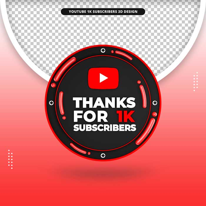 Thanks 1k Subscribers 3D Front Render Icon Youtube