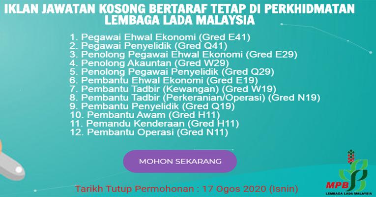 Kekosongan Terkini di Lembaga Lada Malaysia (MPB)