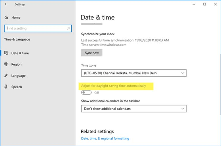 Adjust For Daylight-Saving Time Automatically Is Grayed Call At Windows 10