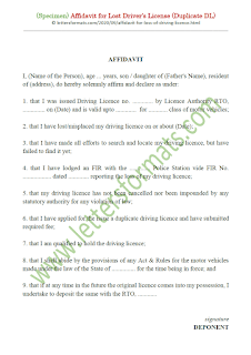 affidavit of loss of driver's license
