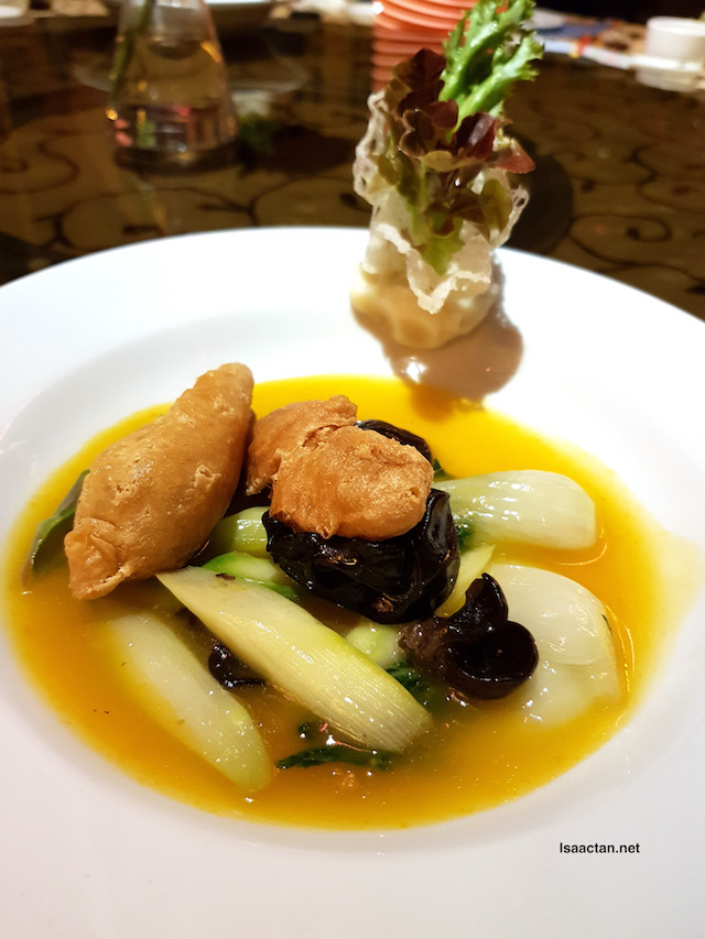 Poached Wild Dungus with Asparagus and Hong Kong cabbage in premium stock