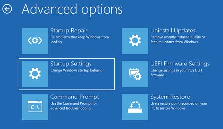 Click on Startup Settings.