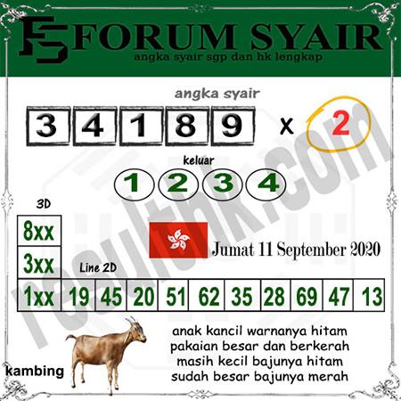 Forum Syair HK Jumat 11 September 2020