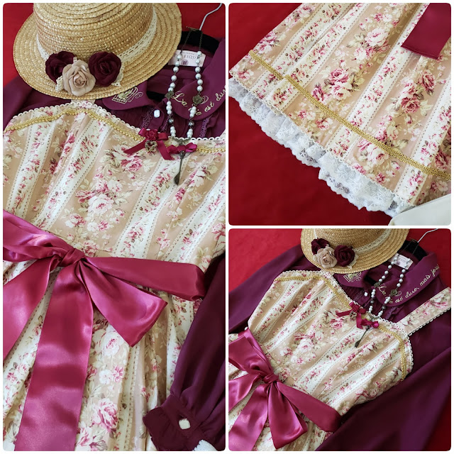 Closeup details of second coordinate showing the fabric details, braided trim, and ribbons