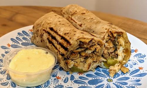 Chicken shawarma sandwich with garlic sauce