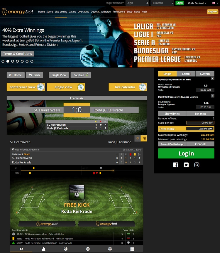 EnergyBet Live Betting Offers