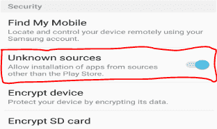how to allow known sources in android