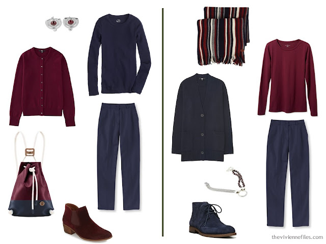 Capsule wardrobe colour palette inspiration - a drop of wine with navy
