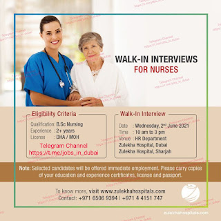 Nurse Jobs vacancy Walk in Interview in Zulekha Hospital Dubai and Sharjah Location's