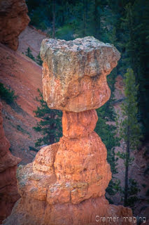 Cramer Imaging's professional quality closeup nature photograph of Thor's Hammer hoodoo in Bryce Canyon National Park, Utah