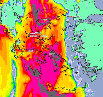 6 - Μπόρες και καταιγίδες σε μεγάλο μέρος της χώρας και της Θεσσαλίας (+XAΡΤΕΣ ΥΕΤΟΥ)