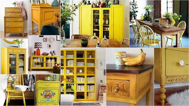 Βάψιμο επίπλων - παλαίωση σε κίτρινο