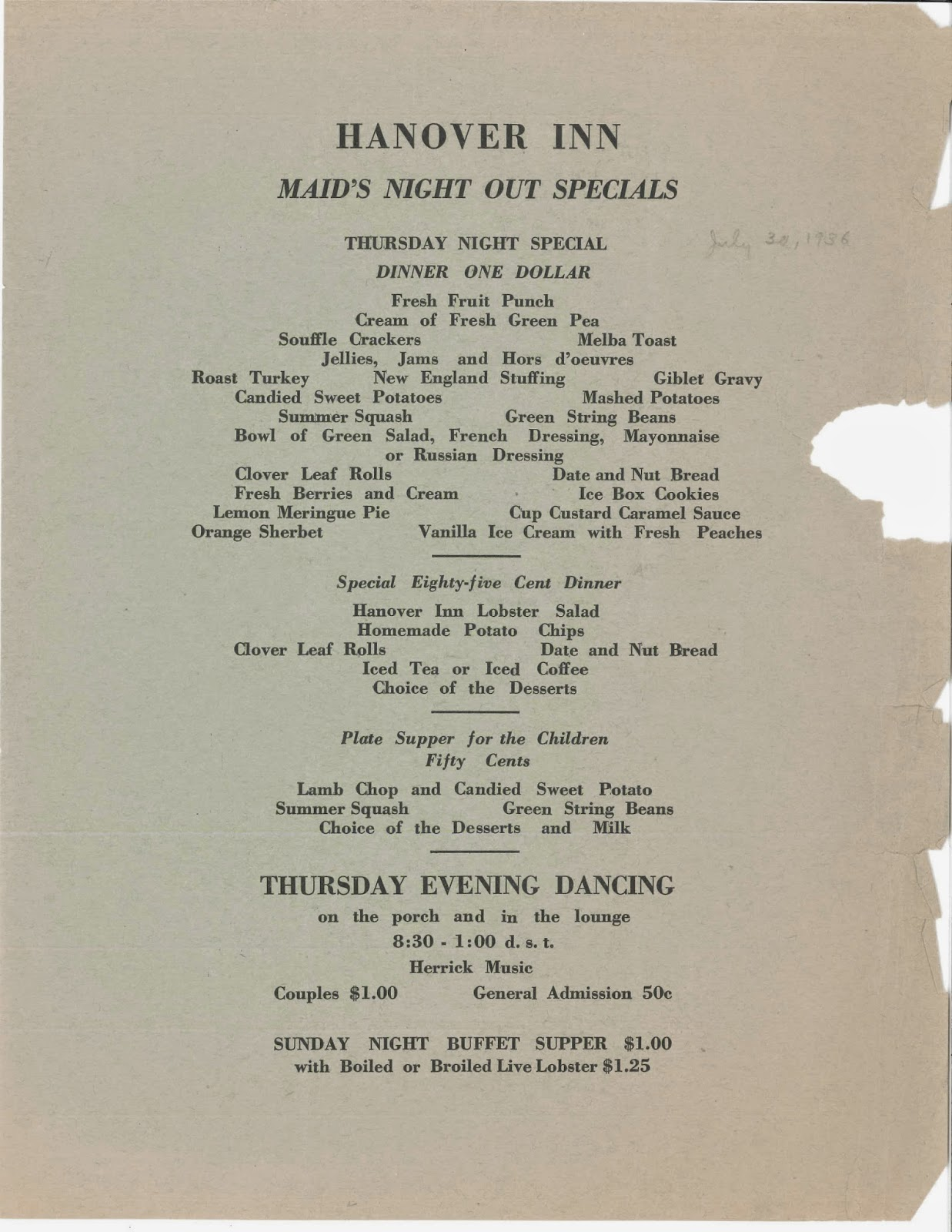 "A printed list of Hanover Inn's ""Maid's Night Out Specials."""