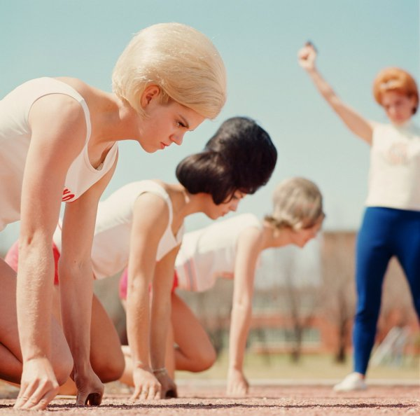 - Flamin' Mamie's Bouffant Belles Sports Illustrated, 1964 The Texas Track Club of Abilene Jeanne Ellison (back), Janis Rinehart (front) and Paula Walter (middle).jpg