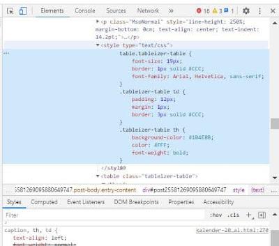 tabel responsive berwarna di blog