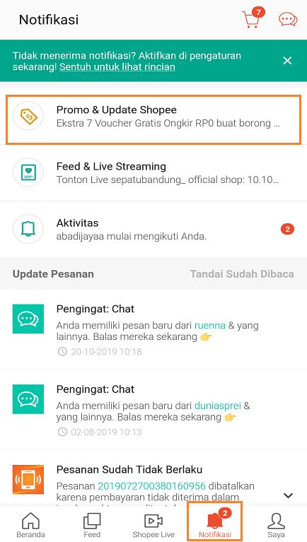 Promo Terbaru Shopee di Halaman Notifikasi Aplikasi Shopee.