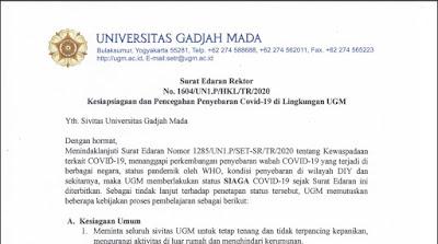 Surat Edaran Rektor UGM Tentang Kesiapsiagaan dan Pencegahan Penyebaran Covid-19