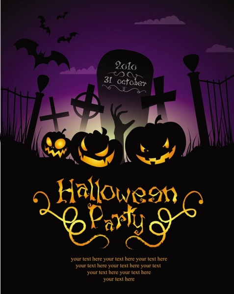 Halloween posters beautiful background 04 vector Free vector