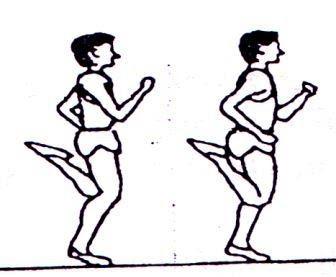 Dril tendangan tumit (heel kick-up dril) lari cepat