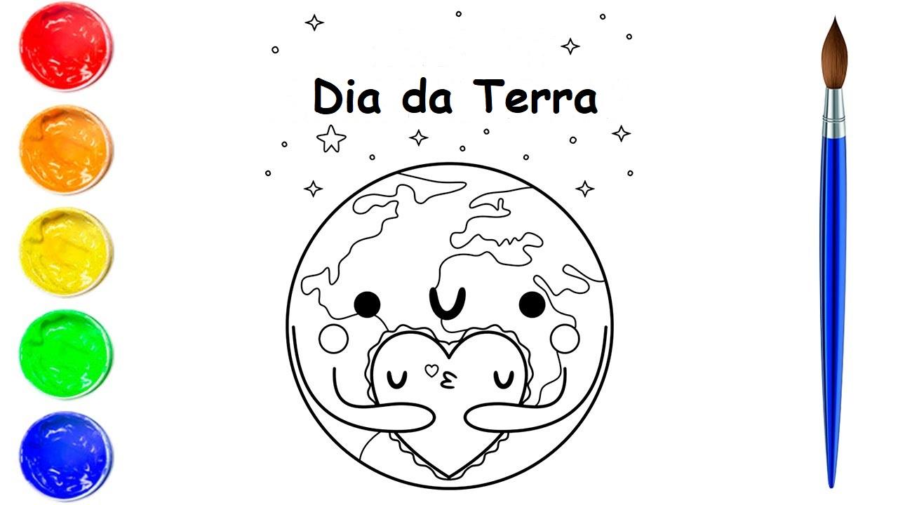 Desenho do Dia da Terra para colorir