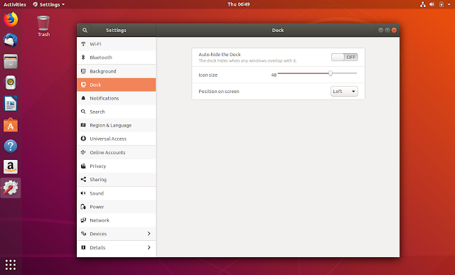 Ubuntu Dock settings