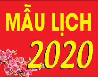 Mẫu lịch 2020