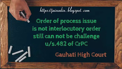 Order of process issue is not interlocutory order still can not be challenge u-s.482 of CrPC