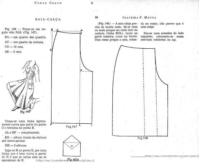 saia calça 1940s molde