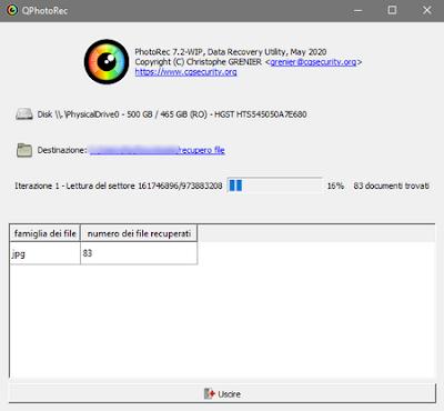 PhotoRec per recuperare le foto e i video cancellati