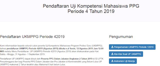 Pendaftaran Uji Kompetensi Mahasiswa PPG Periode 4 Tahun 2019