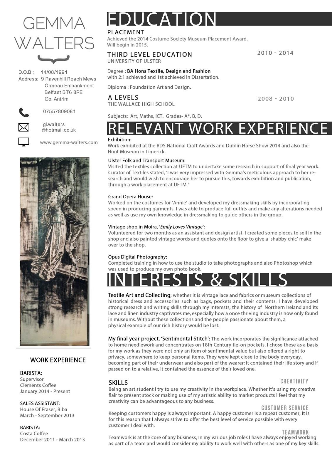 fashion design resume template
