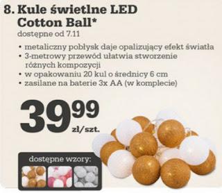 Kule świetlne LED Cotton Ball Biedronka ulotka