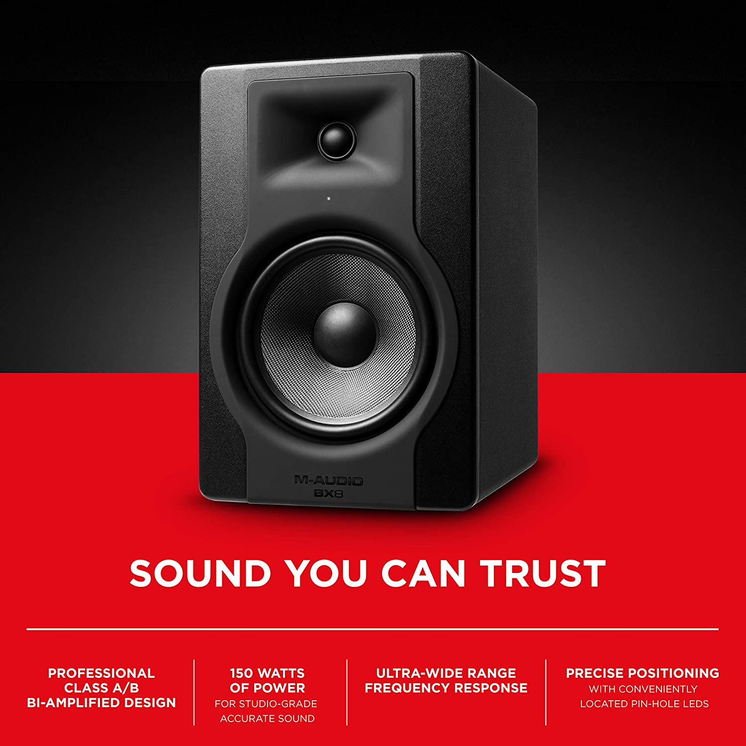 MAudio BX8 D3 8-Inch 150-Watt Studio Monitor Speaker with Acoustic Space Control for Music Production and Mixing