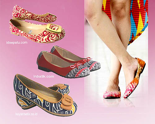 flat shoes berbahan batik