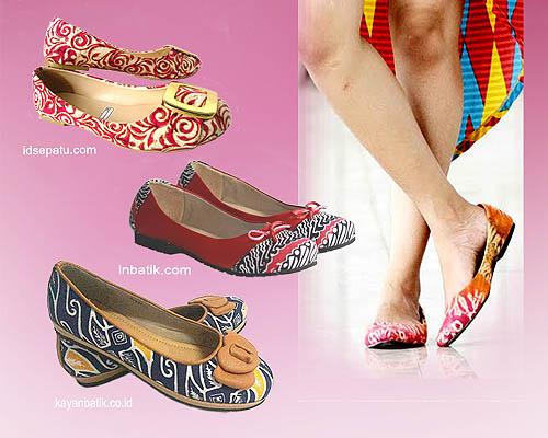 flat shoes berbahan batik