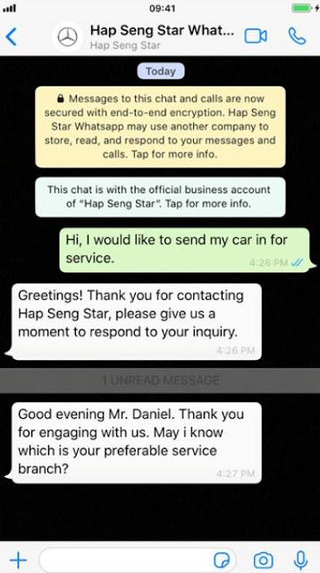 Hap Seng Star WhatsApp Official Business Account