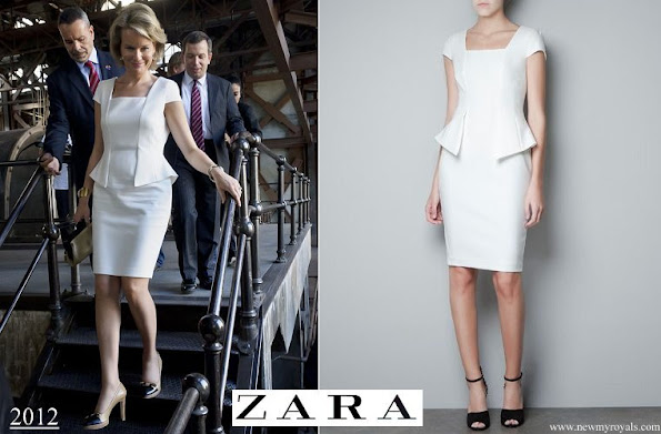 Queen Mathilde wore Zara Spring Summer 2012 White Cap Sleeve Peplum Dress