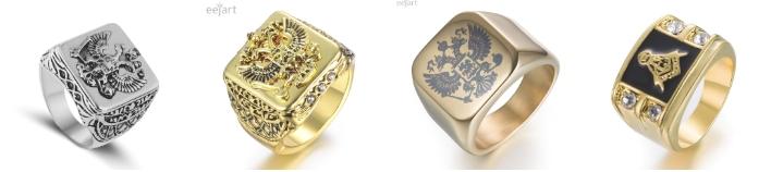 Модное эксклюзивное мужское кольцо с орлиными лапами и российским гербом