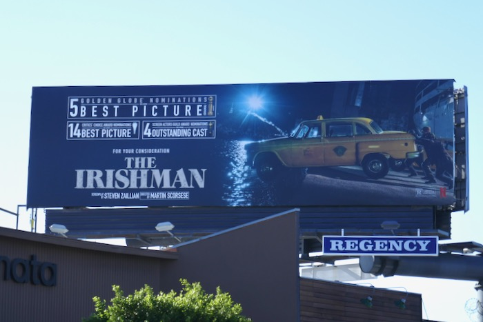 Irishman 5 Golden Globe taxi billboard