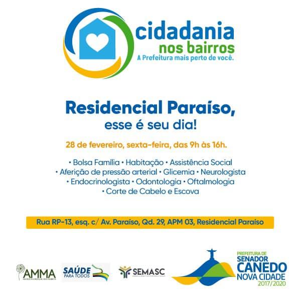 Senador Canedo: Residencial Paraíso recebe o Cidadania nos Bairros nesta sexta-feira