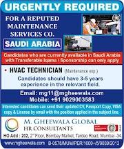 SAUDI JOBS : REQUIRED FOR MAINTENANCE COMPANY IN SAUDI .g
